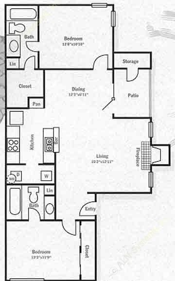 1,019 sq. ft. B2 floor plan