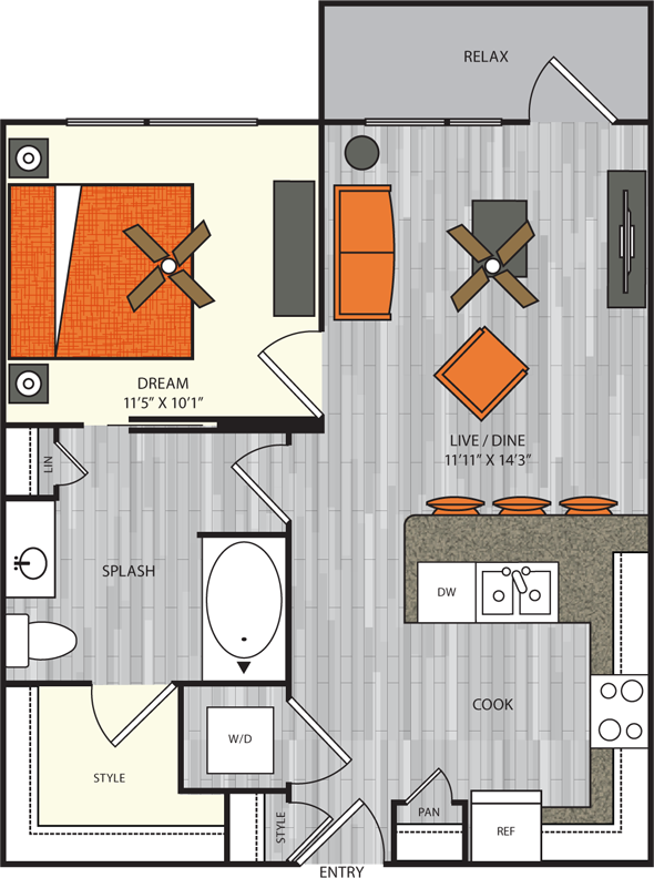 686 sq. ft. A1.8 floor plan