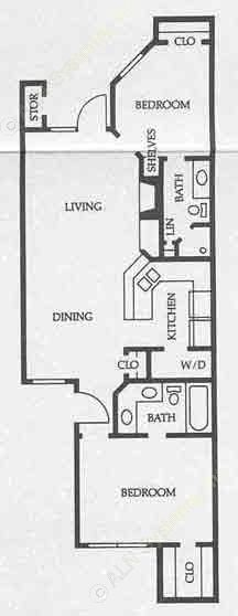 924 sq. ft. B1 50% floor plan