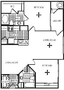 1,080 sq. ft. B2G floor plan