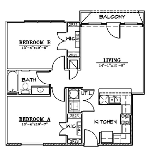 840 sq. ft. B5A floor plan