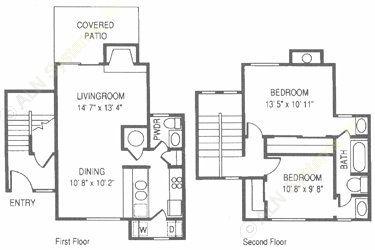 1,102 sq. ft. RO floor plan