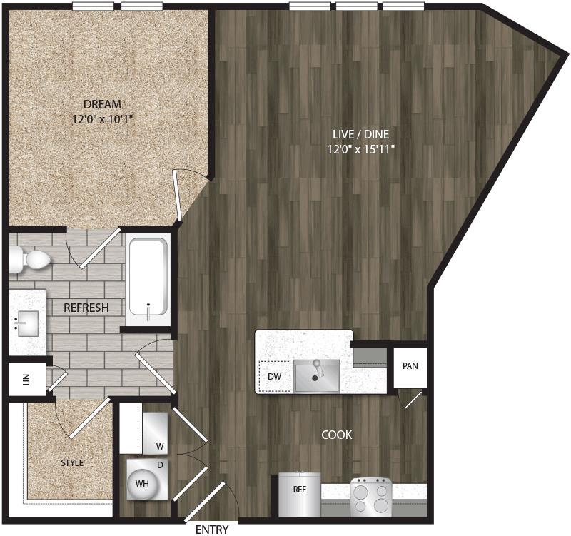 748 sq. ft. A1B floor plan