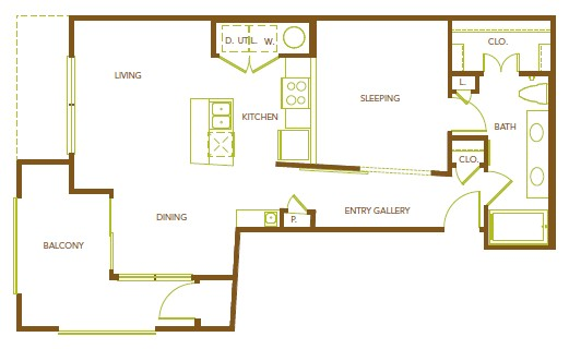 771 sq. ft. A4.1 floor plan