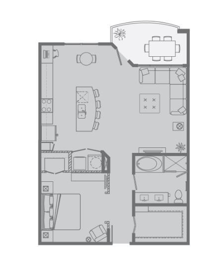 882 sq. ft. D floor plan