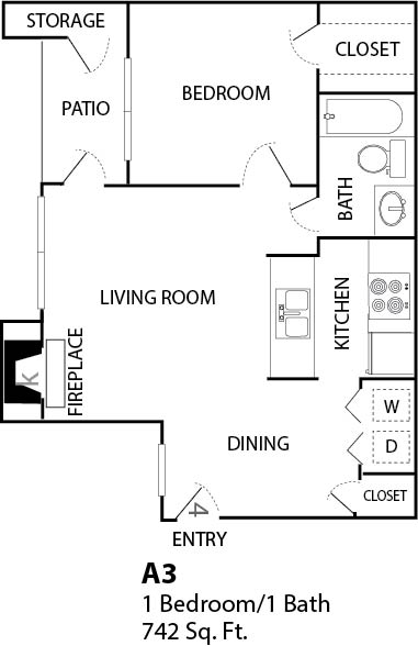 742 sq. ft. A3 floor plan