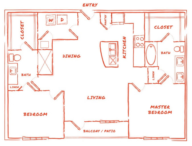 1,204 sq. ft. B5 floor plan