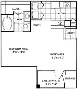 542 sq. ft. EFF floor plan