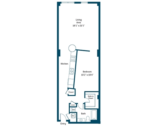 1,008 sq. ft. BC floor plan