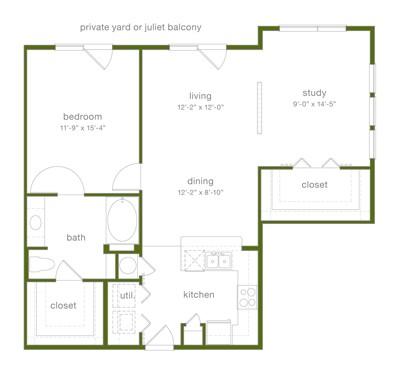 1,048 sq. ft. A6 floor plan