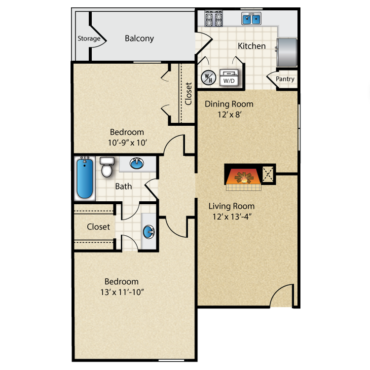 873 sq. ft. A1 floor plan