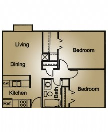 744 sq. ft. floor plan