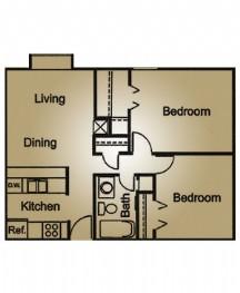 744 sq. ft. floor plan