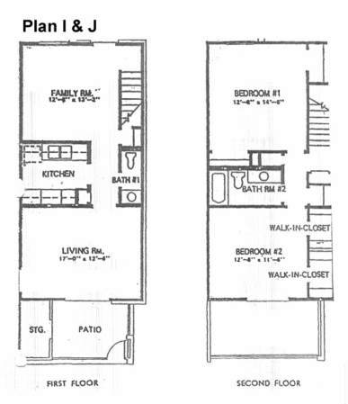 1,156 sq. ft. J floor plan