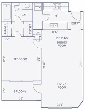 697 sq. ft. A9A floor plan
