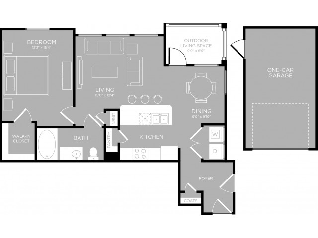823 sq. ft. Guadalupe A5 floor plan