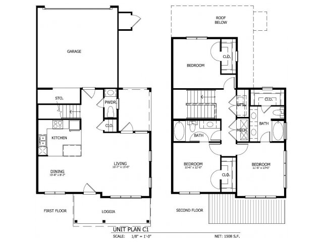 1,511 sq. ft. THC.1GG floor plan