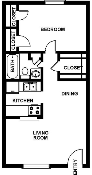 661 sq. ft. floor plan