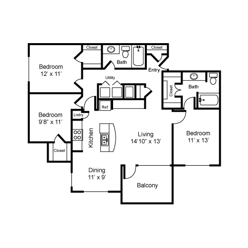 1,253 sq. ft. C1-I floor plan