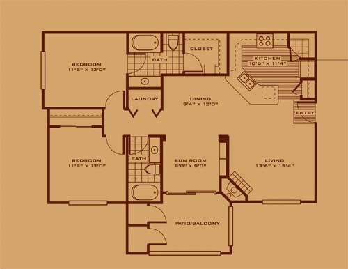 1,147 sq. ft. B1 floor plan