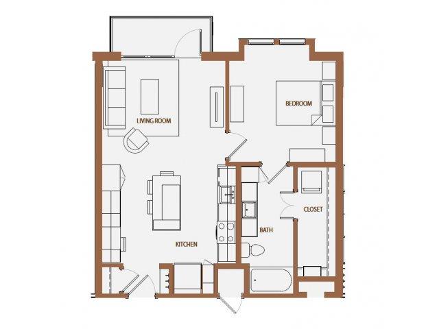 744 sq. ft. A3-6 floor plan