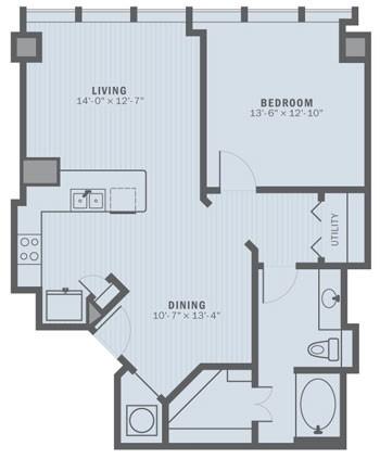 906 sq. ft. A2B floor plan