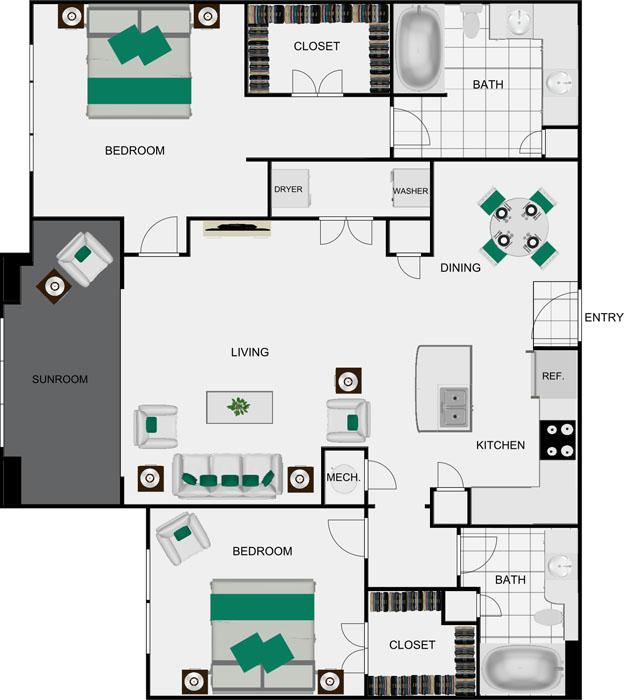 1,319 sq. ft. B4B floor plan