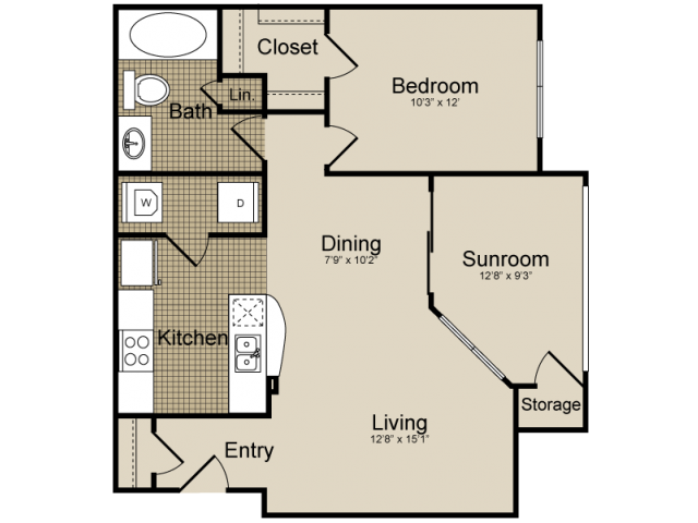 844 sq. ft. Dorado   (A5) floor plan