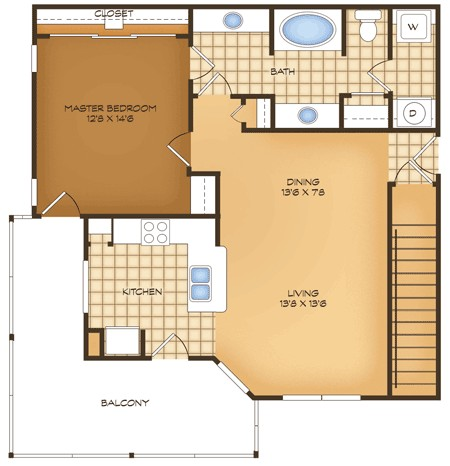 846 sq. ft. A4G Messina Vistas floor plan