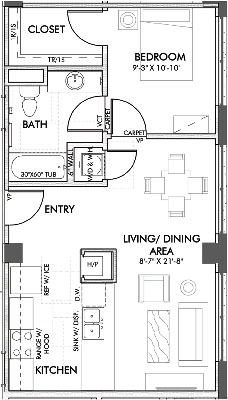 635 sq. ft. Burnett 60% floor plan