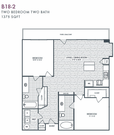 1,375 sq. ft. B18-2 floor plan