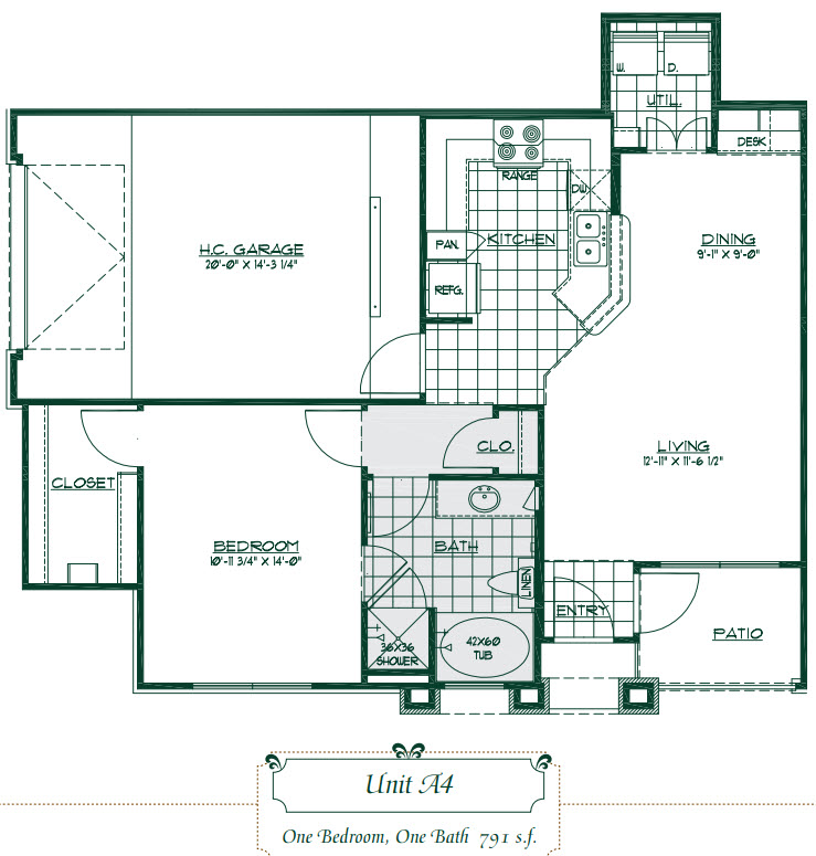 790 sq. ft. A4 floor plan