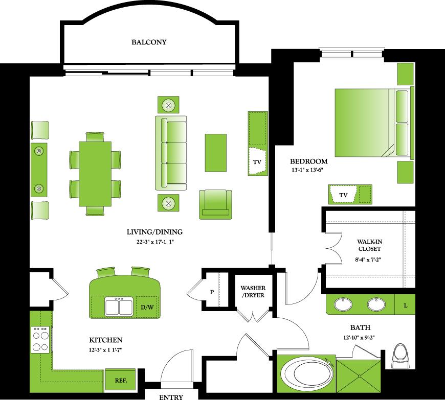 1,140 sq. ft. Apple floor plan