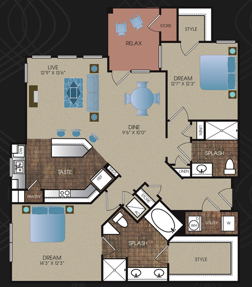 1,281 sq. ft. B2 floor plan