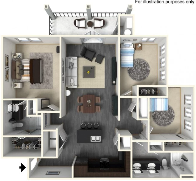 1,331 sq. ft. C1 floor plan