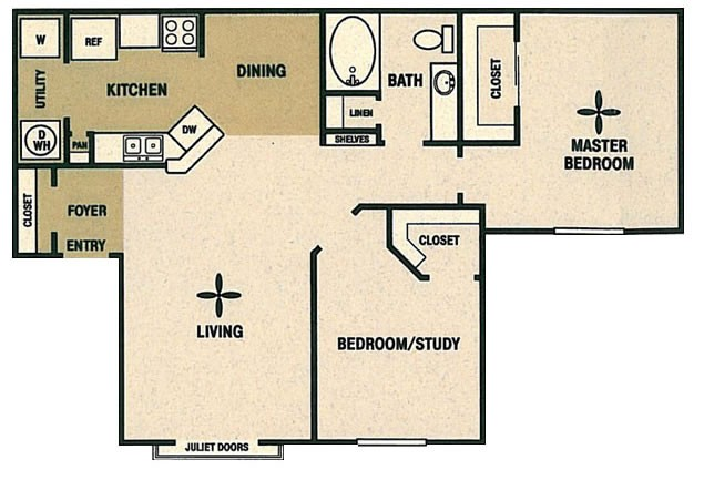 977 sq. ft. B floor plan