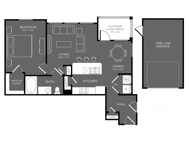 806 sq. ft. to 823 sq. ft. Cascade floor plan