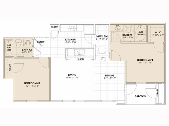 908 sq. ft. MKT floor plan