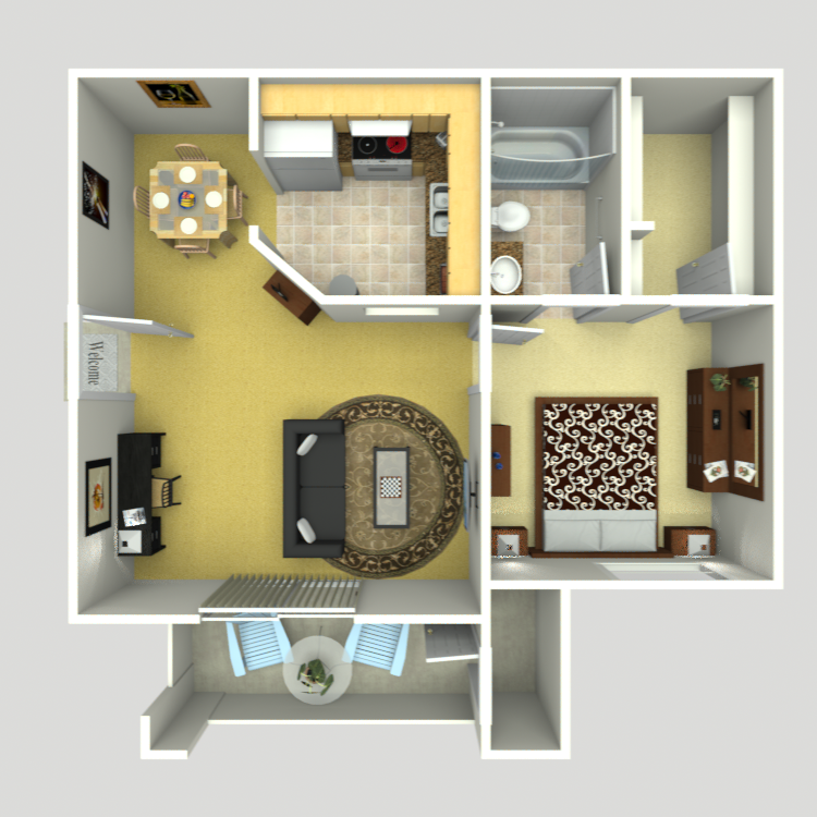 572 sq. ft. AJ-2 floor plan