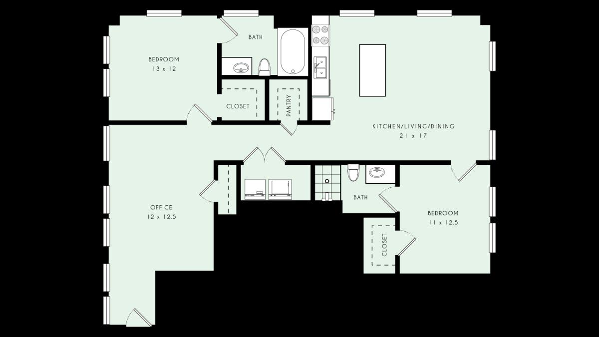 1,361 sq. ft. B08 80% floor plan
