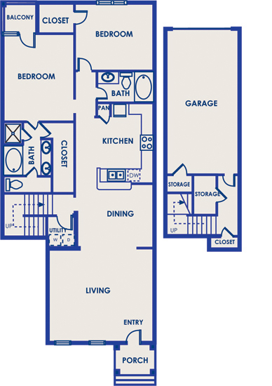 1,599 sq. ft. 22D floor plan