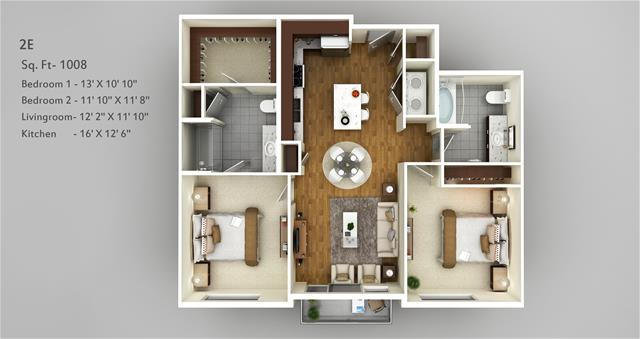 1,008 sq. ft. 2E floor plan
