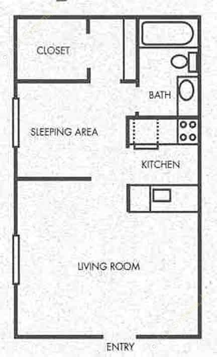 443 sq. ft. A1 floor plan