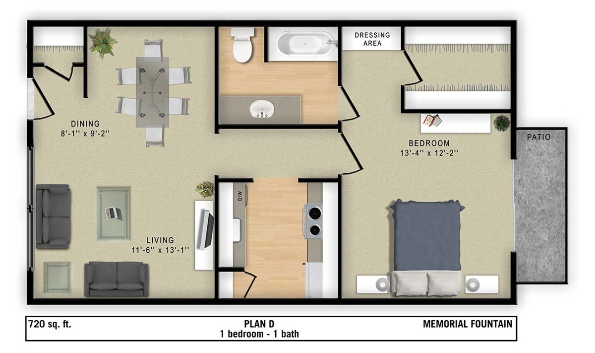 720 sq. ft. D floor plan