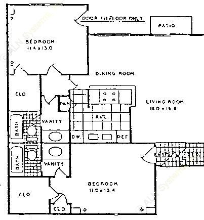 1,017 sq. ft. B-1/60 floor plan