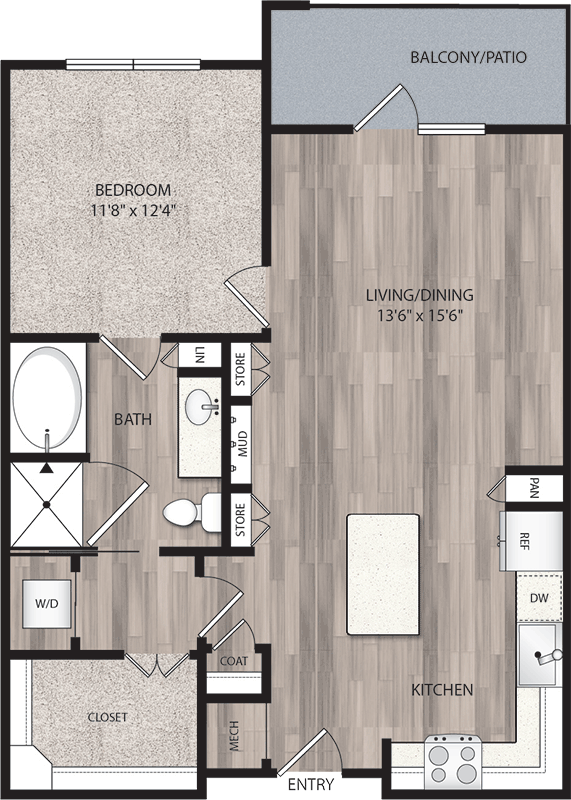 830 sq. ft. A4 floor plan