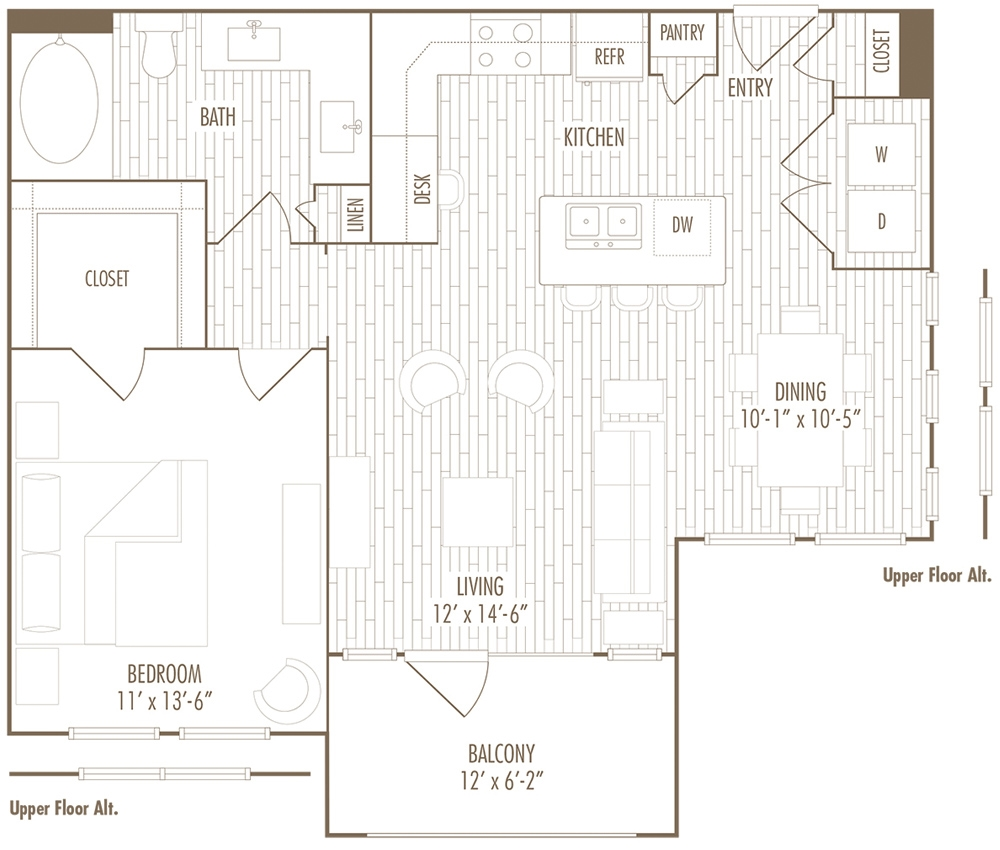 800 sq. ft. BG floor plan