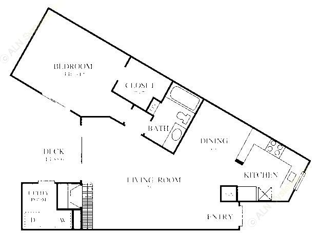 832 sq. ft. A6 floor plan