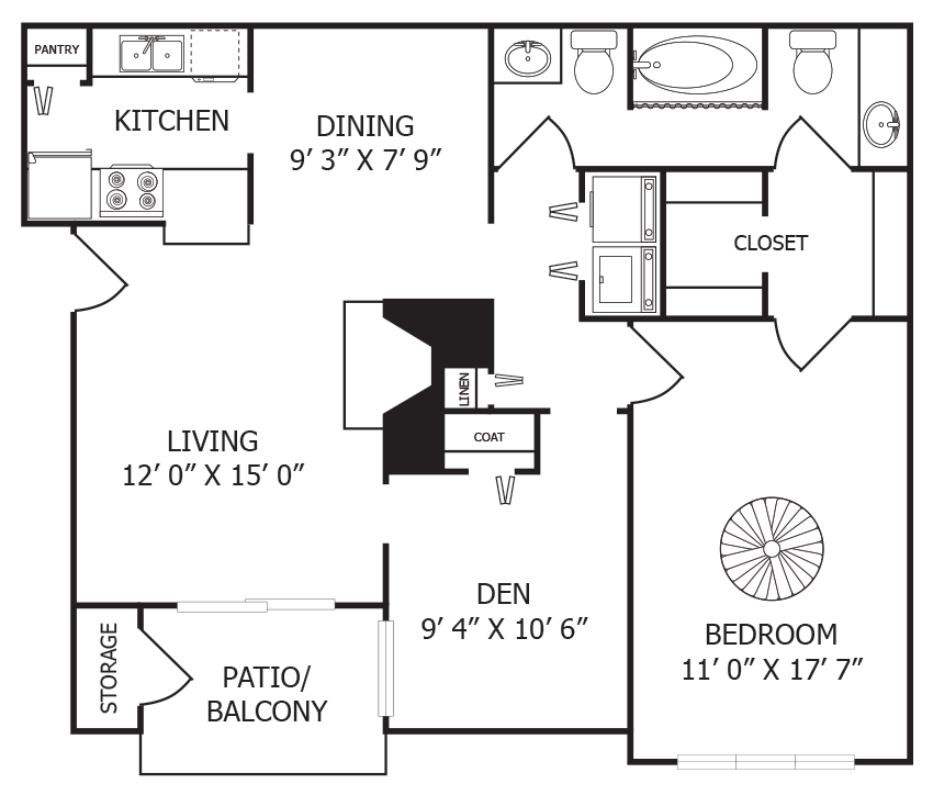 939 sq. ft. A6 floor plan