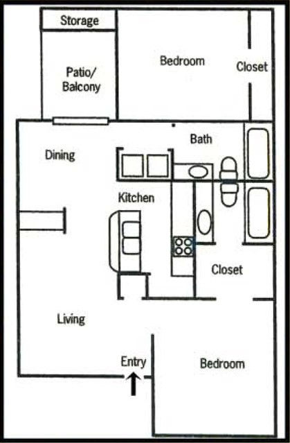 952 sq. ft. B3 floor plan